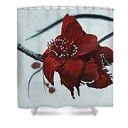 Red Silk Cotton Flower Shower Curtain