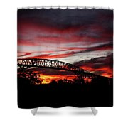 Red Skies At Pleasure Island Bridge Shower Curtain