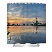 Red Skies Over Kinderdijk Shower Curtain