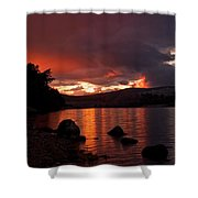 Red Skies Over Loch Rannoch Shower Curtain