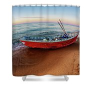Red Skiff Shower Curtain