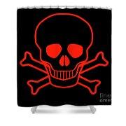Red Skull And Crossbones Shower Curtain