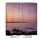 Red Sky And Storm Waves Shower Curtain