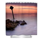 Red Sky Caution Shower Curtain by Mike  Dawson