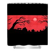 Red Sky Cemetery Shower Curtain