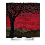 Red Sky - Dark Hills Shower Curtain
