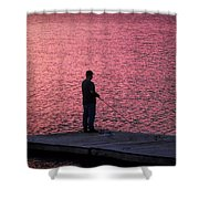 Red Sky Fishing Shower Curtain