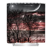 Red Sky Moon Shower Curtain