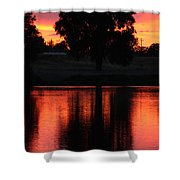 Red Sky Reflection With Tree Shower Curtain