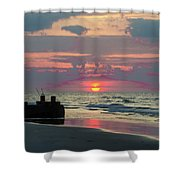 Red Sky Sun Rise Shower Curtain