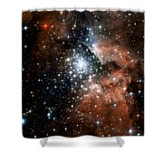Red Smoke Star Cluster Shower Curtain