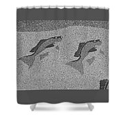 Red Snapper Inlay In Grayscale Shower Curtain