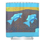 Red Snapper Inlay On Alabama Welcome Center Floor - Color Invert Shower Curtain