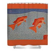Red Snapper Inlay On Alabama Welcome Center Floor Shower Curtain