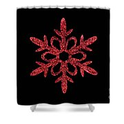 Red Snowflake Ornament Shower Curtain