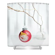 Red Snowman Bauble On A Branch Shower Curtain