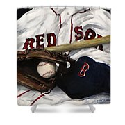 Red Sox Number Nine Shower Curtain by Jack Skinner
