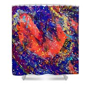 Red Space Glitter 15-15 Shower Curtain