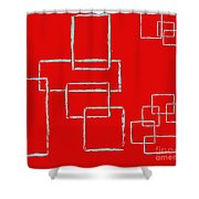 Red Squares Shower Curtain