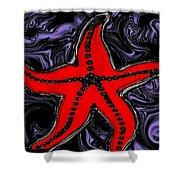 Red Starfish In Stormy Seas Shower Curtain