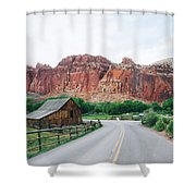 Red Stone Mountain  Shower Curtain