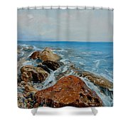 Red Stone Shower Curtain