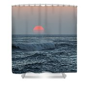 Red Sun With Wave Shower Curtain