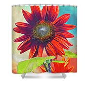 Red Sunflowers At Sundown Shower Curtain