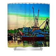 Red Sunrise And The Shrimp Boat Shower Curtain