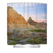 Red Sunrise On The Hills Of Badlands Shower Curtain