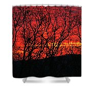 Red Sunrise Over The Ozarks Shower Curtain