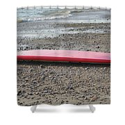 Red Surf Board On A Rocky Beach Shower Curtain