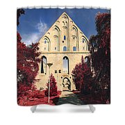 Red Surreal Abbey Ruins Shower Curtain