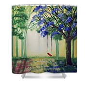 Red Swing Fantasy Shower Curtain