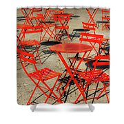 Red Tables And Chairs Shower Curtain