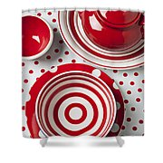 Red Teapot Shower Curtain by Garry Gay