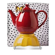 Red Teapot With Butterfly Shower Curtain