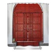 Red Temple Door Shower Curtain