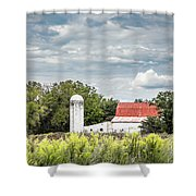 Red Tin Roof Shower Curtain