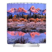 Red Tip Teton Reflection Panorama Shower Curtain