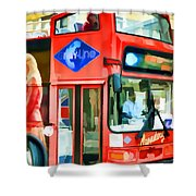 Red Tourist Bus In New York Shower Curtain