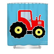 Red Toy Tractor Shower Curtain
