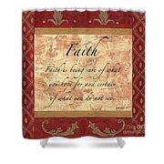 Red Traditional Faith Shower Curtain