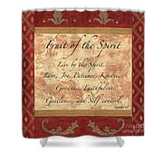 Red Traditional Fruit Of The Spirit Shower Curtain by Debbie DeWitt