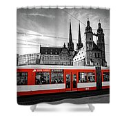 Red Train Shower Curtain