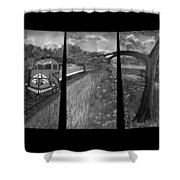 Red Train Passage In Black And White Shower Curtain