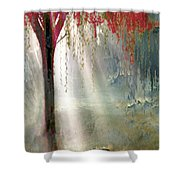 Red Tree 1  Shower Curtain