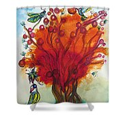 Red Tree And Friends Shower Curtain