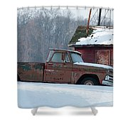 Red Truck In The Snow Shower Curtain