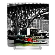 Red Tug On Cuyahoga River Shower Curtain